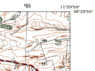 Reduced fragment of topographic map de--mb--025k--75_034-ams--(1954)--N048-30_E011-20--N048-24_E011-30