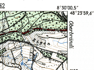 Reduced fragment of topographic map de--mb--025k--76_016-ams--(1954)--N048-24_E008-20--N048-18_E008-30