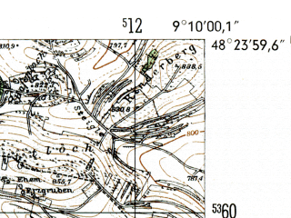 Reduced fragment of topographic map de--mb--025k--76_020-ams--(1954)--N048-24_E009-00--N048-18_E009-10