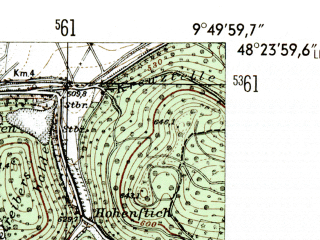 Reduced fragment of topographic map de--mb--025k--76_024-ams--(1954)--N048-24_E009-40--N048-18_E009-50