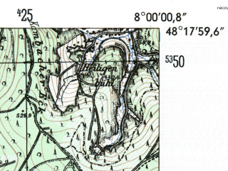 Reduced fragment of topographic map de--mb--025k--77_013-ams--(1954)--N048-18_E007-50--N048-12_E008-00
