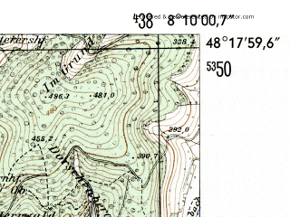 Reduced fragment of topographic map de--mb--025k--77_014-ams--(1954)--N048-18_E008-00--N048-12_E008-10