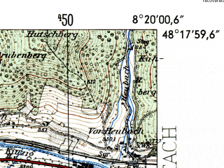 Reduced fragment of topographic map de--mb--025k--77_015-ams--(1954)--N048-18_E008-10--N048-12_E008-20