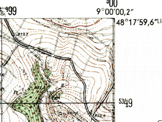 Reduced fragment of topographic map de--mb--025k--77_019-ams--(1954)--N048-18_E008-50--N048-12_E009-00; towns and cities Balingen