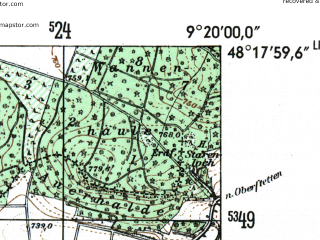 Reduced fragment of topographic map de--mb--025k--77_021-ams--(1954)--N048-18_E009-10--N048-12_E009-20