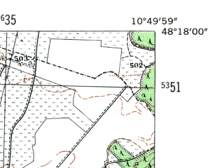 Reduced fragment of topographic map de--mb--025k--77_030-ams--(1954)--N048-18_E010-40--N048-12_E010-50