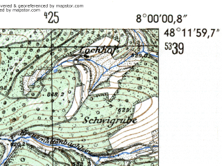 Reduced fragment of topographic map de--mb--025k--78_013-ams--(1954)--N048-12_E007-50--N048-06_E008-00
