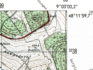 Reduced fragment of topographic map de--mb--025k--78_019-ams--(1954)--N048-12_E008-50--N048-06_E009-00