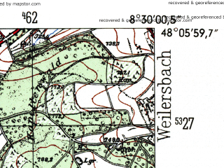 Reduced fragment of topographic map de--mb--025k--79_016-ams--(1954)--N048-06_E008-20--N048-00_E008-30; towns and cities Villingen