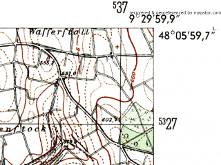 Reduced fragment of topographic map de--mb--025k--79_022-ams--(1954)--N048-06_E009-20--N048-00_E009-30