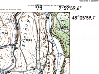 Reduced fragment of topographic map de--mb--025k--79_025-ams--(1954)--N048-06_E009-50--N048-00_E010-00