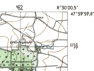 Reduced fragment of topographic map de--mb--025k--80_016-ams--(1954)--N048-00_E008-20--N047-54_E008-30