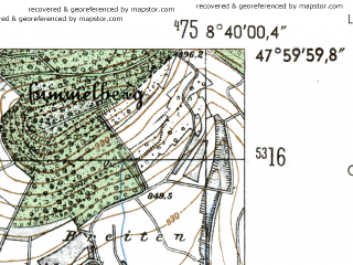 Reduced fragment of topographic map de--mb--025k--80_017-ams--(1954)--N048-00_E008-30--N047-54_E008-40
