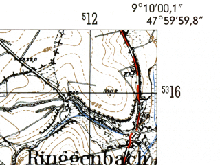 Reduced fragment of topographic map de--mb--025k--80_020-ams--(1954)--N048-00_E009-00--N047-54_E009-10