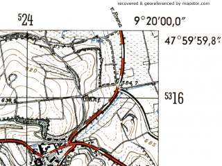 Reduced fragment of topographic map de--mb--025k--80_021-ams--(1954)--N048-00_E009-10--N047-54_E009-20