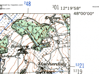 Reduced fragment of topographic map de--mb--025k--80_039-ams--(1954)--N048-00_E012-10--N047-54_E012-20