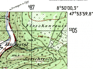 Reduced fragment of topographic map de--mb--025k--81_018-ams--(1954)--N047-54_E008-40--N047-48_E008-50