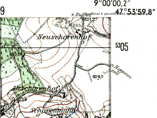 Reduced fragment of topographic map de--mb--025k--81_019-ams--(1954)--N047-54_E008-50--N047-48_E009-00