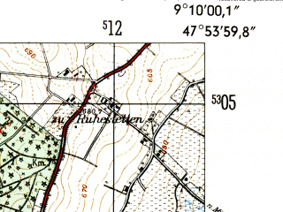 Reduced fragment of topographic map de--mb--025k--81_020-ams--(1954)--N047-54_E009-00--N047-48_E009-10