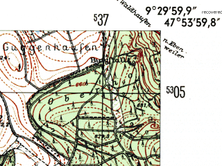 Reduced fragment of topographic map de--mb--025k--81_022-ams--(1954)--N047-54_E009-20--N047-48_E009-30