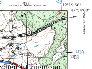 Reduced fragment of topographic map de--mb--025k--81_039-ams--(1954)--N047-54_E012-10--N047-48_E012-20 in area of Simssee