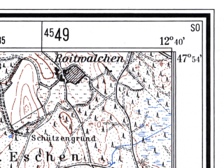 Reduced fragment of topographic map de--mb--025k--81_041--(1960)--N047-54_E012-30--N047-48_E012-40; towns and cities Traunstein