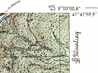 Reduced fragment of topographic map de--mb--025k--82_013-ams--(1954)--N047-48_E007-50--N047-42_E008-00