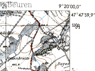 Reduced fragment of topographic map de--mb--025k--82_021-ams--(1954)--N047-48_E009-10--N047-42_E009-20; towns and cities Uberlingen