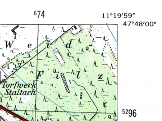 Reduced fragment of topographic map de--mb--025k--82_033-ams--(1954)--N047-48_E011-10--N047-42_E011-20