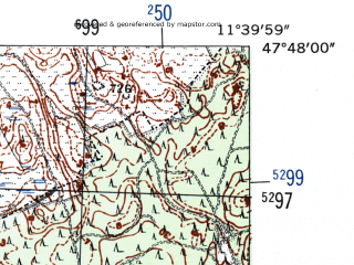Reduced fragment of topographic map de--mb--025k--82_035-ams--(1954)--N047-48_E011-30--N047-42_E011-40; towns and cities Bad Tolz