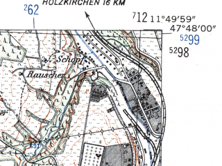 Reduced fragment of topographic map de--mb--025k--82_036-ams--(1954)--N047-48_E011-40--N047-42_E011-50; towns and cities Tegernsee