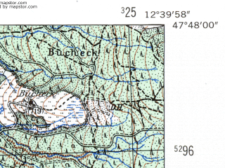 Reduced fragment of topographic map de--mb--025k--82_041-ams--(1954)--N047-48_E012-30--N047-42_E012-40