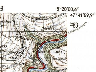 Reduced fragment of topographic map de--mb--025k--83_015-ams--(1954)--N047-42_E008-10--N047-36_E008-20; towns and cities Waldshut