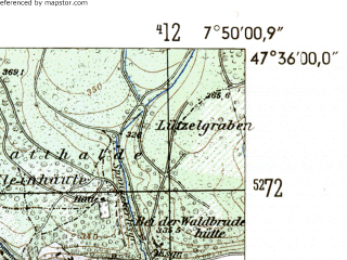 Reduced fragment of topographic map de--mb--025k--84_012-ams--(1954)--N047-36_E007-40--N047-30_E007-50; towns and cities Rhinefelden