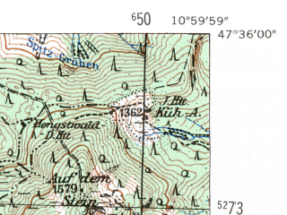 Reduced fragment of topographic map de--mb--025k--84_031-ams--(1954)--N047-36_E010-50--N047-30_E011-00