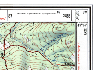 Reduced fragment of topographic map de--mb--025k--86_026--(1974)--N047-24_E010-00--N047-18_E010-10