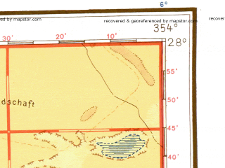 Reduced fragment of topographic map de--me--001m--g29--(1943)--N028-00_W012-00--N024-00_W006-00 in area of Sebkhet Oumm Ed Drous Telli, Sebkhet Iguetti, Saguia El Hamra; towns and cities Semara