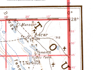 Reduced fragment of topographic map de--me--001m--g30--(1943)--N028-00_W006-00--N024-00_W000-00; towns and cities Tiourinine, Titaf, Azoua