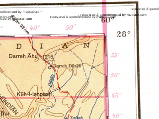 Reduced fragment of topographic map de--me--001m--g40--(1942)--N028-00_E054-00--N024-00_E060-00 in area of Gulf Of Oman, Strait Of Hormuz, Hamun-e Gaz Murian; towns and cities Abu Dhabi, Deh Now-e Mir, Karian, Kheyrabad