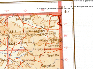 Reduced fragment of topographic map de--me--001m--j35--(1941)--N040-00_E024-00--N036-00_E030-00 in area of Gokova Korfez, Kusadasi Korfez, Izmir Korfez; towns and cities Izmir, Denizli, Kutahya, Balikesir, Usak