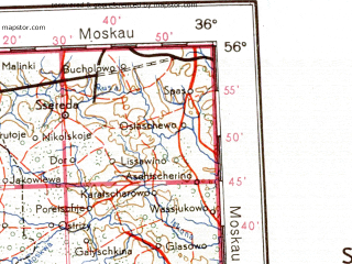 Reduced fragment of topographic map de--me--001m--n36--(1942)--N056-00_E030-00--N052-00_E036-00; towns and cities Gomel', Bryansk, Smolensk, Orsha, Safonovo
