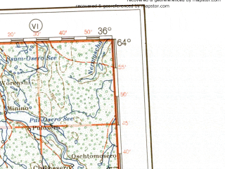 Reduced fragment of topographic map de--me--001m--p36--(1941)--N064-00_E030-00--N060-00_E036-00 in area of Ozero Vygozero, Segozero, Lake Ladoga; towns and cities Petrozavodsk, Segezha, Pargolovo, Lodeynoye Pole, Lieksa