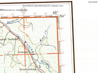Reduced fragment of topographic map de--me--001m--p38--(1941)--N064-00_E042-00--N060-00_E048-00 in area of Vaga, Suhona; towns and cities Kotlas, Koryazhma, Vel'sk, Velikiy Ustyug, Krasavino