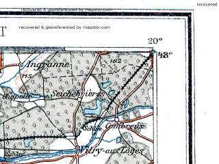 Reduced fragment of topographic map de--me--300k--1G48--(1913)--N048-00_E000-20--N047-00_E002-20 in area of Beuvron, Etang Du Louroux; towns and cities Tours, Orleans, Vierzon, La Ferte-saint-aubin, Mehun-sur-yevre