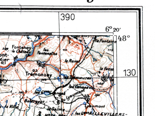 Reduced fragment of topographic map de--me--300k--1J48--(1938)--N048-00_E004-20--N047-00_E006-20; towns and cities Besancon, Dijon, Dole, Beaune, Vesoul