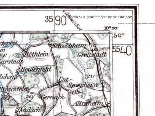 Reduced fragment of topographic map de--me--300k--1L50--(1941)--N050-00_E008-20--N049-00_E010-20; towns and cities Mannheim, Karlsruhe, Wurzburg, Darmstadt, Heidelberg