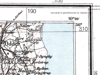 Reduced fragment of topographic map de--me--300k--1L56--(1944)--N056-00_E008-20--N055-00_E010-20 in area of Fladsa, Arreskov So; towns and cities Esbjerg, Vejle, Horsens, Kolding, Hadersley