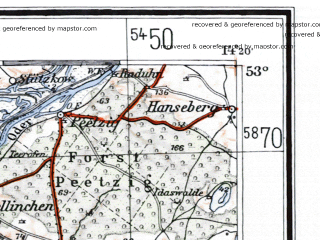 Reduced fragment of topographic map de--me--300k--1N53--(1933)--N053-00_E012-20--N052-00_E014-20 in area of Havel Strom, Plauer See, Wannsee; towns and cities Berlin, Potsdam, Brandenburg, Eberswalde, Strausberg