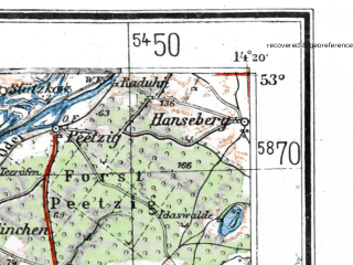 Reduced fragment of topographic map de--me--300k--1N53--(1942)--N053-00_E012-20--N052-00_E014-20 in area of Havel Strom, Plauer See, Wannsee; towns and cities Berlin, Potsdam, Brandenburg, Eberswalde, Furstenwalde