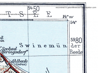 Reduced fragment of topographic map de--me--300k--1N54--(1936)--N054-00_E012-20--N053-00_E014-20 in area of Muritz, Spree, Ucker; towns and cities Schwedt, Swinoujscie, Neubrandenburg, Prenzlau, Neustrelitz